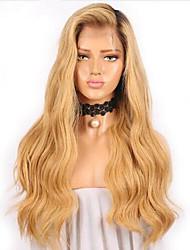 Недорогие -Remy / Натуральные волосы Лента спереди Парик Бразильские волосы / Естественные кудри Волнистый Парик 130% Жен. Длинные Парики из натуральных волос на кружевной основе