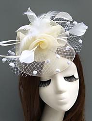 baratos -Pena / Rede Fascinadores / Chapéus / Peça para Cabeça com Penas / Floral / Flor 1pç Casamento / Ocasião Especial Capacete