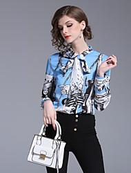 baratos -Mulheres Camisa Social Moda de Rua Laço / Estampado, Floral