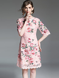 cheap -Women's Going out Vintage / Sophisticated Puff Sleeve Slim A Line Dress - Floral Lace / Embroidered / Summer