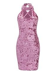 baratos -Mulheres Moda de Rua Tubinho Vestido - Vazado, Sólido Mini