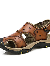 cheap -Men's Cowhide Summer / Fall Sporty / Comfort Sandals Water Shoes Coffee / Brown