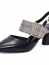 preiswerte -Damen Schuhe Leder Frühling Herbst Pumps Komfort High Heels Blockabsatz für Weiß Schwarz Rosa