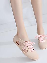 Недорогие -Жен. Обувь ПВХ Лето Силиконовая обувь Сандалии На плоской подошве Круглый носок для на открытом воздухе Розовый / Светло-Зеленый /