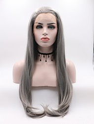 cheap -Synthetic Lace Front Wig Straight Layered Haircut Synthetic Hair Curler & straightener Dark Gray Wig Women's Mid Length Lace Front / Yes