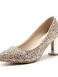 abordables -Femme Chaussures Paillettes Printemps Confort Chaussures à Talons Talon Bottier Bout pointu Paillette Or / Argent / Rouge