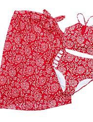 Недорогие -Жен. Бикини - Открытая спина / Перекрещивание, Завышенная Однотонный / Геометрический принт