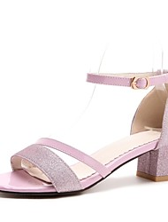 cheap -Women's Shoes Customized Materials Summer Ankle Strap Sandals Chunky Heel Open Toe Buckle Gold / Silver / Pink / Party & Evening