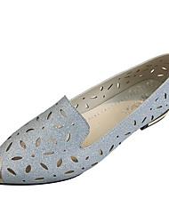 billige -Dame Sko PU Sommer Komfort Sandaler Flade hæle Spidstå Guld / Sort / Sølv