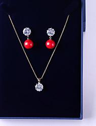 baratos -Mulheres Zircônia Cubica Conjunto de jóias - Bola Doce, Fashion Incluir Brincos Compridos / Colares com Pendentes Vermelho Para Casamento / Festa