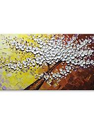 Недорогие -styledecor® современное ручное роспись белое дерево цветов на желтом и коричневом фоне Масляная картина на холсте на холсте