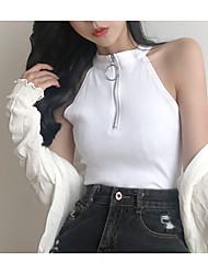 abordables -Mujer Vintage Tallas Grandes Borla - Algodón Tank Tops Un Color Manga Farol Blanco y Negro