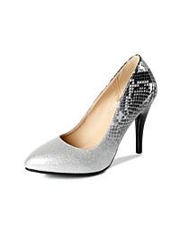 baratos -Mulheres Sapatos Courino Outono Conforto Saltos Salto Agulha Dedo Apontado Prata / Roxo / Verde / Festas & Noite
