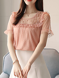 cheap -Women's Basic Blouse - Solid Colored Beaded / Mesh