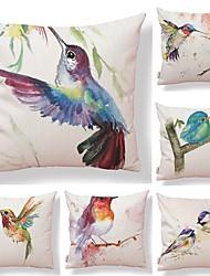 baratos -6 pçs Téxtil / Algodão / Linho Fronha, Art Deco / Animal / Estampado Forma Quadrada / Estilo Europeu