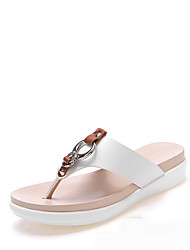 cheap -Women's Shoes Leather Summer Comfort Slippers & Flip-Flops Wedge Heel White / Black / Orange