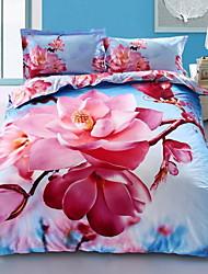 Недорогие -Пододеяльник наборы Цветочный принт 100% хлопок Активный краситель 4 предмета