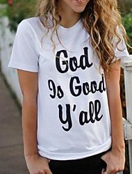 cheap -Women's Cotton T-shirt - Solid Colored / Letter