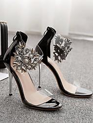 baratos -Mulheres Sapatos Couro Envernizado Verão Plataforma Básica Sandálias Salto Agulha Dedo Aberto para Festas & Noite Preto