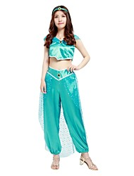 cheap -Princess Jasmine Outfits Women's Halloween / Carnival / Day of the Dead Festival / Holiday Halloween Costumes Blue Solid Colored /