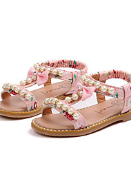 cheap -Girls' Shoes Leather Spring & Summer Comfort Sandals Imitation Pearl / Buckle for White / Black / Pink