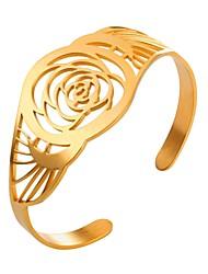 Недорогие -Браслет цельное кольцо Браслет разомкнутое кольцо - Цветы Мода Браслеты Золотой / Серебряный Назначение Повседневные