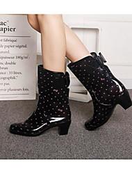 baratos -Mulheres Sapatos Pele PVC Outono Botas de Chuva Botas Salto Robusto para Preto / Leopardo