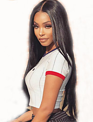 cheap -Remy Human Hair Full Lace Wig Brazilian Hair Straight Wig Layered Haircut 150% With Baby Hair / Natural Hairline Black Women's Short / Long / Mid Length Human Hair Lace Wig