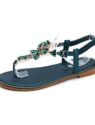 baratos -Mulheres Sapatos Courino Primavera Verão Tira em T Sandálias Sem Salto Ponta Redonda Pedrarias para Ao ar livre / Escritório e Carreira