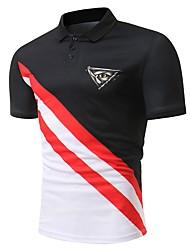 Недорогие -Муж. Polo Хлопок Классический Контрастных цветов Черный и красный / С короткими рукавами