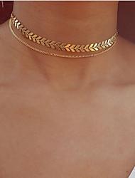 Недорогие -Многослойность Ожерелья-бархатки / Ожерелья с подвесками / Слоистые ожерелья - В форме листа Дамы, Винтаж, Богемные, европейский Золотой, Серебряный 30 cm Ожерелье Бижутерия Назначение