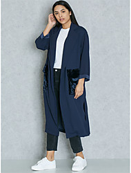 cheap -BENEVOGA Women's Sophisticated / Street chic Trench Coat - Solid Colored / Color Block, Patchwork