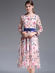 cheap -Women's Boho Silk Slim Swing Dress - Floral / Geometric / Plaid Lace / Tassel / Print High Waist