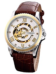 cheap -Men's Dress Watch Japanese Chronograph Genuine Leather Band Creative / Fashion Brown / Stainless Steel / Automatic self-winding