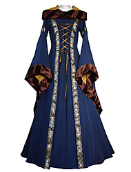cheap -Cosplay Medieval Costume Women's Dress Black Brown Blue Red Vintage Cosplay Cotton Fabric Long Sleeves Flare Sleeve