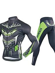 Недорогие -Realtoo Муж. Длинный рукав Велокофты и лосины - Черный / зеленый Велоспорт Наборы одежды, 3D-панель Полиэстер, Спандекс