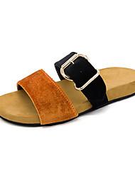 お買い得  -女性用 靴 フロック加工 夏 コンフォートシューズ スリッパ&フリップ・フロップ フラットヒール のために アウトドア ブラック / オレンジ / グリーン
