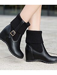 cheap -Women's Shoes PU(Polyurethane) Winter Fashion Boots Boots Wedge Heel Mid-Calf Boots White / Black / Beige