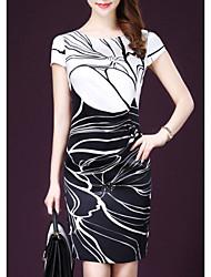 abordables -Femme Mince Gaine Robe Géométrique Col Ras du Cou Au dessus du genou