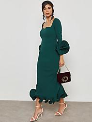 baratos -Mulheres Sofisticado / Moda de Rua Tubinho / Bainha / Sereia Vestido - Frufru / Pregueado / Fenda, Sólido Longo