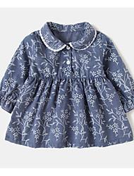 cheap -Toddler Girls' Basic Floral Print Long Sleeve Knee-length Dress / Cotton