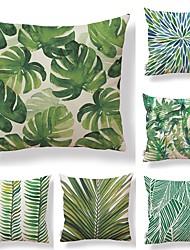 baratos -6 pçs Téxtil / Algodão / Linho Fronha, Simples / Folha / Estampado Forma Quadrada / Tropical