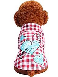 preiswerte -Hunde Katzen Haustiere T-Shirts Hundekleidung Plaid / Karomuster Liebe Zitate & Sprüche Rot Blau Baumwolle / Polyester Kostüm Für