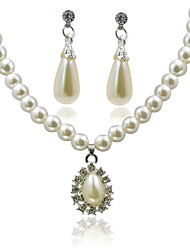 cheap -Women's Jewelry Set - Imitation Pearl European, Fashion Include Drop Earrings / Pendant Necklace White For Gift / Daily