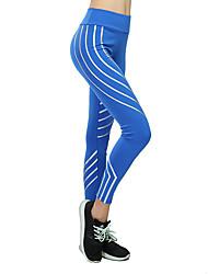 baratos -Mulheres Calças de Yoga - Fúcsia, Cinzento Claro, Azul Esportes Riscas Meia-calça / Leggings Roupas Esportivas Dançando, Secagem Rápida