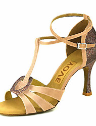 cheap -Women's Latin Shoes / Salsa Shoes Satin / Silk Sandal / Heel Buckle / Ribbon Tie Customized Heel Customizable Dance Shoes Bronze / Almond
