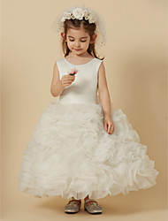cheap -A-Line Knee Length Flower Girl Dress - Organza Satin Sleeveless Jewel Neck with Sash / Ribbon by LAN TING Express