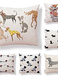 baratos -6 pçs Téxtil / Algodão / Linho Fronha, Art Deco / Cachorro / Estampado Simples / Forma Quadrada