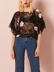 cheap -Women's Basic T-shirt - Floral Mesh