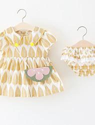 Недорогие -Дети (1-4 лет) Девочки Тропический лист С принтом / Контрастных цветов С короткими рукавами Набор одежды